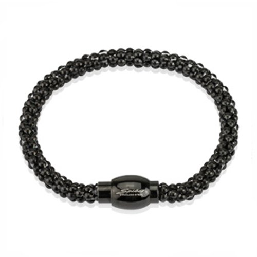 Polished Black Plated Stainless Steel Bracelet with Magnetic Snap Closure For men - 8.5 Length