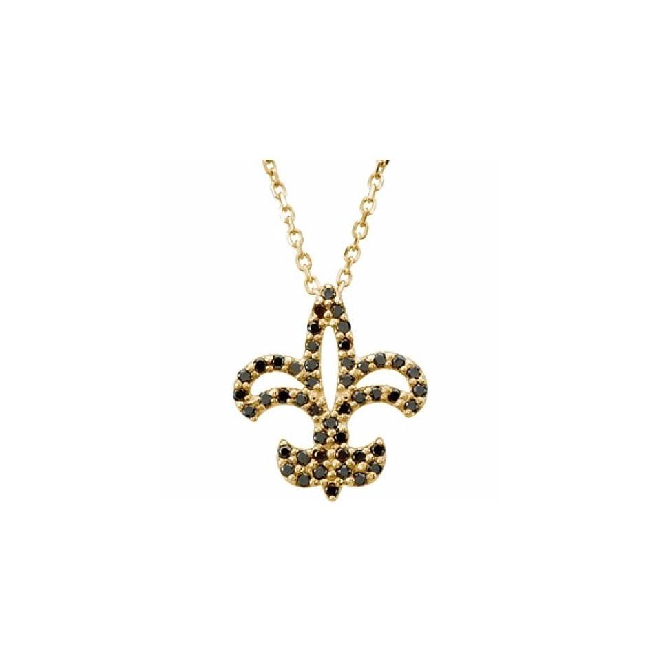 14K Yellow Gold Black Diamond Fleur de Lis Necklace   0.25 Ct.