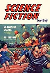 30 x 20 Stretched Canvas Poster Science Fiction Quarterly: Citizens Flee UFO Attack