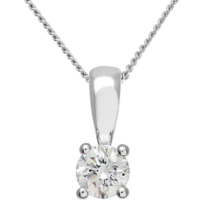 Ariel 18ct White Gold Solitaire Pendant + Chain, IJ/I Certified Diamond, Round Brilliant, 0.33ct