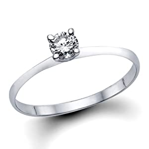 1/5 ct. Round Diamond Solitaire Engagement Ring in 14k White Gold from Natural Diamond