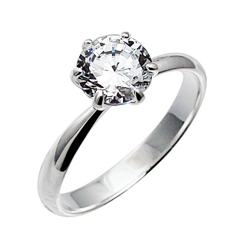 925 Sterling Silver Clear Cz Solitaire Prong Set Engagement/wedding Ring Size 4~11; Comes with Free Gift Box (10)