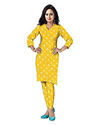 Banjara Women'S Cotton Bandhani Unstitched Dress Material (Rf18, Yellow_Free Size)
