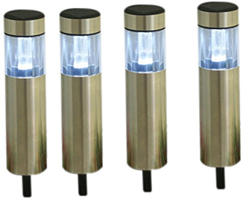 YinArts Lighting YA21-BSS1303 Stainless Steel Solar Bollard Light with 2X Superbright White LED, 4-Pack