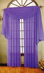 Beautiful Purple Elegance Window Sheer Voile Scarf 216\