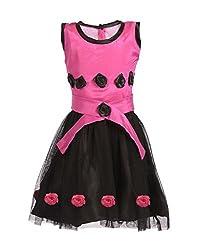 RoopRahasya Girls' Santoon Designer Dress Frock_PNBL117_2Y_Pink & Black