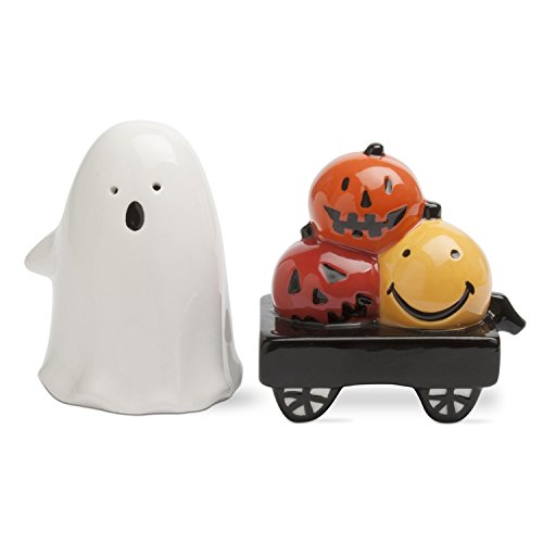 Ghost and Pumpkin Salt and Pepper Shaker Set of 2