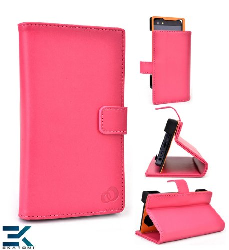 Pu Leather Universal Book Folio Phone Cover Fits Alcatel Onetouch Evolve Case - Hot Pink. Bonus Ekatomi Screen Cleaner