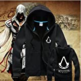 Zip-up Hoodie Sweater-Games Assassin's Creed , Black, XL