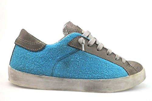 scarpe donna 2 STAR 37 EU sneakers celeste / beige tessuto / camoscio AP697