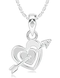 VK Jewels Love Heart Rhodium Plated Alloy Pendant With Chain For Women & Girls P2337R [VKP2337R]