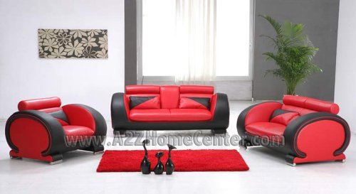 Ultra Modern Red/Black Leather Living Room Set Sofa Loveseat Chair