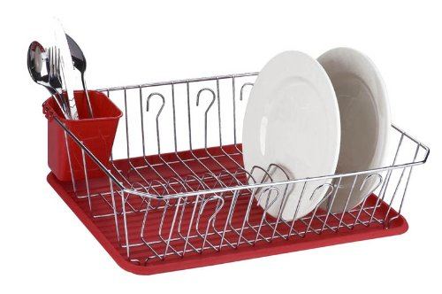 Home Basics Chrome Dish Rack with Red Tray