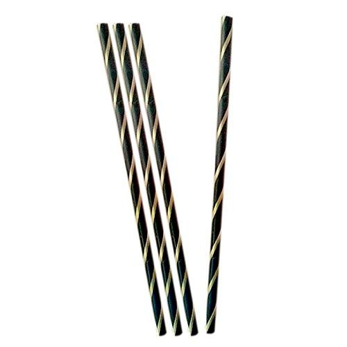 40 pailles flexibles noir et or Noir