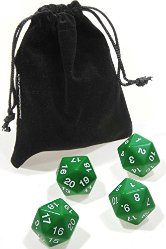 DICE 20-Sided (D20) Polyhedral GREEN Count Down 30mm _ Bundle of 4 Dice _ with Bonus Black Velveteen Drawstring Pouch