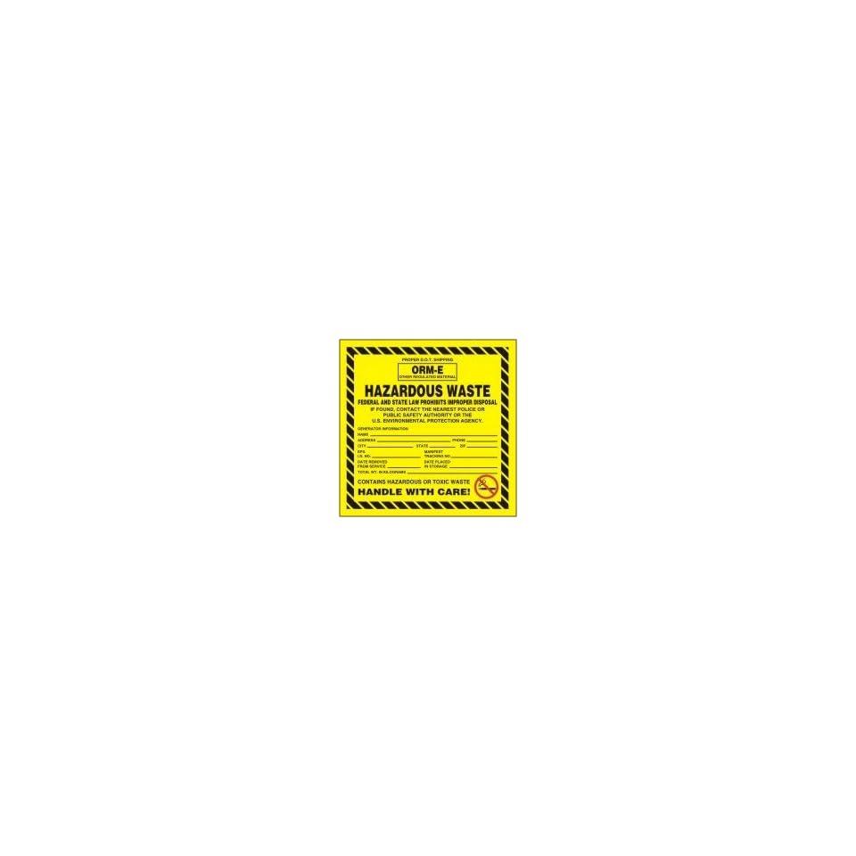 Hazardous Waste Adhesive Vinyl Labels PROPER D.O.T SHIPPING ORM