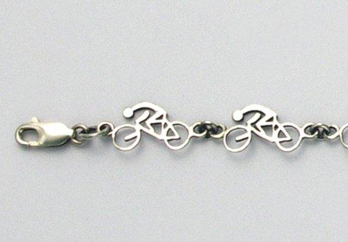 """Sterling Silver Road Bike W/Rider 8"""" Bracelet"""