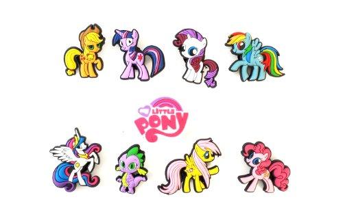 9 Pcs Cute Little Ponies # 2 Shoe Charms Decoration For Kids Children front-1023180