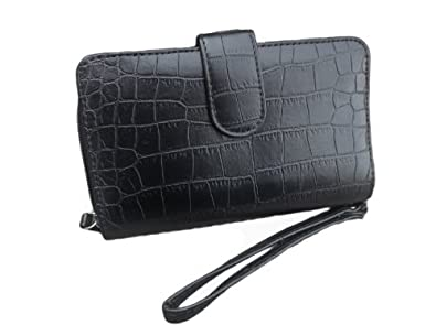 Black Organizer Wristlet Wallet for Women in Croc Print - Large Enough to Hold Phone