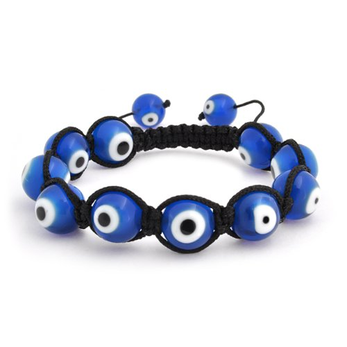 Bling Jewelry Blue Evil Eye Bead Bracelet Shamballa Inspired 10mm