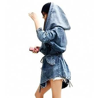 DJT Fashion Jean Blouson Manteau Capuche-Veste en jean-Coat Hoodie Populaire - Femme