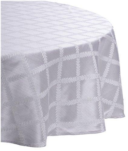 Lenox Laurel Leaf 70-by-86-Inch Oval Tablecloth, Platinum