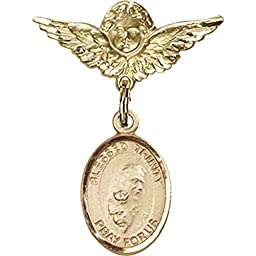 Gold Filled Baby Badge with Blessed Trinity Charm and Angel w/Wings Badge Pin 1 X 3/4 inches