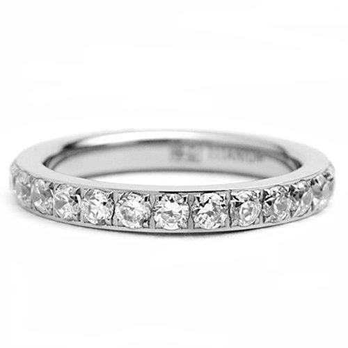 3Mm High Polished Titanium Round Cz Cubic Zirconia Eternity Wedding Band - Size 5