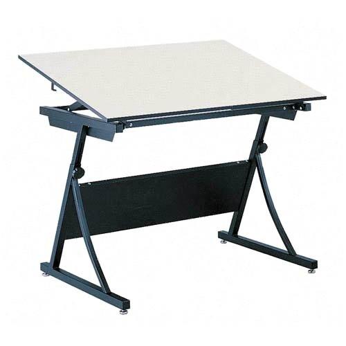 "Safco 39573951KIT Planmaster Height-Adjustable Drafting Table, 48"" Wide White Melamine Top, Heavy Du"