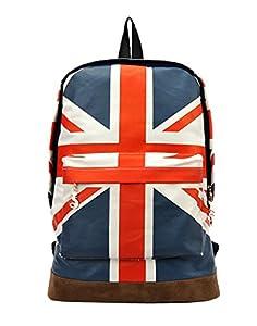 niceeshop(TM) London Stil Tagesrucksack Rucksack Leinwand Buchtasche Schultaschen für Frauen Männer, Britische Flagge Muster