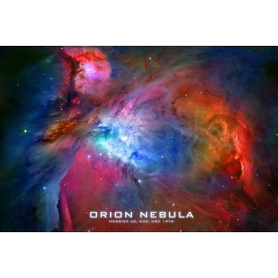 Orion Nebula Text Space Photo Poster Print - 11X17 Custom Fit With Richandframous Black 17 Inch Poster Hangers