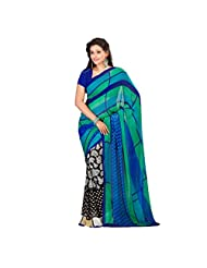 Admyrin Black And Blue Georgette Saree With Blue Blouse Piece