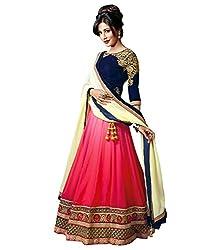 Shital Fashion World Designer Pink Blue Georgette Embroidered Semi Stitched Lehenga Choli Dupatta Dress Material