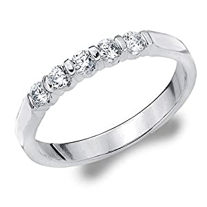 Platinum Diamond Bar Set Wedding Band (.25 cttw, G-H Color, SI1-SI2 Clarity) Size 10