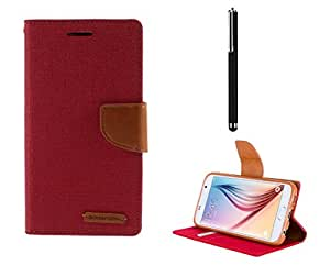 Relax And Shop Flip Cover With Stylus Pen For Samsung Galaxy J5- (Pink Flip + Stylus)