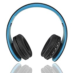 Fetta Wireless Foldable Over Ear Bluetooth Headphones with Mic Travel Acoustic Noise Cancelling Headsets with 3.5 MM Audio Cable for Sports Stereo Earphones for Bluetooth Enabled Devices (Blue)