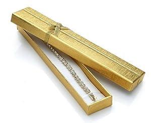 Silvity Geschenk-Schachtel in feinem Gold und & mit Gold-Schleife wunderschöne Geschenkbox eine tolle Geschenkidee 20 cm*2 cm*1 cm 355-20