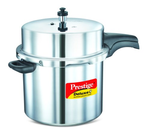 Prestige PRDAPC12 Deluxe Plus 12-Liter New Flat Base Aluminum Pressure Cooker for Gas and Induction Stove, Medium, Silver (Indian Aluminum Pressure Cooker compare prices)