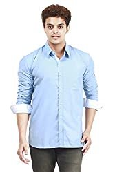 Trendster Winsome Solid Blue-White Formal Shirt