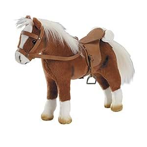 Götz 3401099 Pferd mit Sattel und Zaumzeug aus Plüsch, braun, biegsam, Grösse ca. 33x10x40 cm