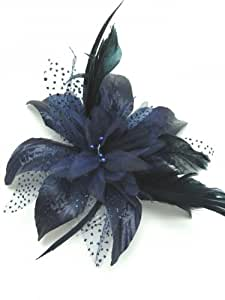 NAVY BLUE STUNNING FASCINATOR FOR WEDDINGS LADIES DAY RACES PROM HEN & PARTIES