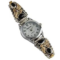 Clifford Bahe Sterling Silver & 12K Gold Fill Onyx Leaf Ladies Watch Navajo