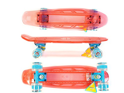 MAXOfit® Mini LED Skateboard ROT, mit integriertem LED Lichtband und LED Rollen