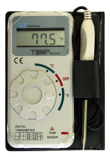 "HM Digital TM-1 Industrial Grade Digital Celsius and Fahrenheit Thermometer, -50 to +250 Degree C / -58 to +482 Degree F Temperature Range, Stainless Steel Probe, 20"" Cable - 1"