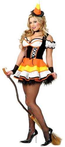 Charades Womens Candy Corn Witch Costume
