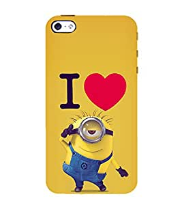 printtech Funny Yellow Cartoon Love Back Case Cover for Apple iPhone 4S