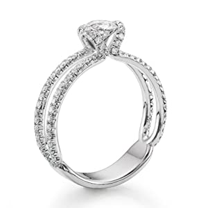 Diamond Engagement Ring in 18K Gold / White GIA Certified, Round, 0.86 Carat, H Color, VVS2 Clarity
