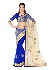 Designersareez Women Beige & Blue Net & Faux Georgette Saree With Unstitched Blouse (1794)
