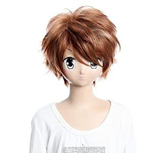SureWells Wig Dynasty Warriors 6 Brown Short Straight Fluffy Cosplay Wigs Party Wigs Costume Wigs