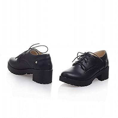 Latasa Womenu0026#39;s Fashion Lace-up Chunky Mid-heel Platform ...